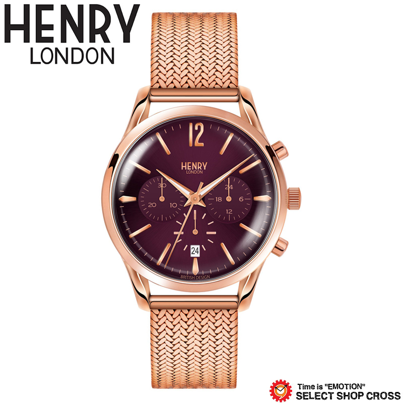 ヘンリーロンドン HENRYLONDON ハムステッド HAMPSTEAD クロノ クオーツ メンズ レディース ユニセックス 腕時計 ブランド HL39-CM-0088 パープル/ローズゴールド