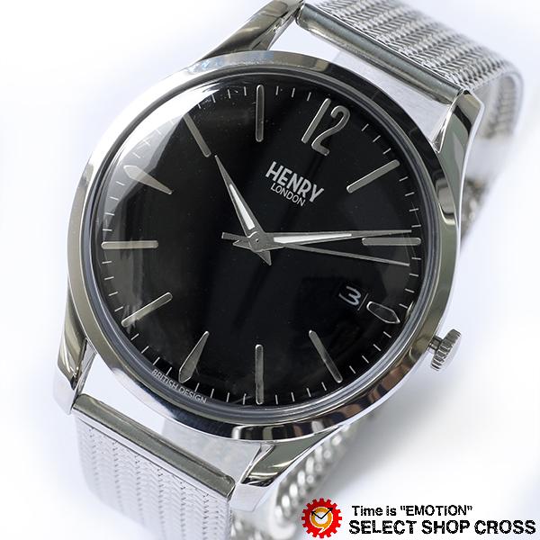 ヘンリーロンドン HENRY LONDON エッジウェア 39mm メッシュ メンズ レディース ユニセックス 腕時計 ブランド HL39-M-0015 ブラック/シルバー