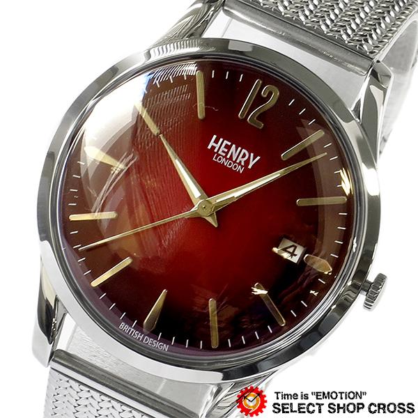 ヘンリーロンドン HENRY LONDON チャンスリー CHANCERY メンズ レディース ユニセックス 39mm 腕時計 ブランド HL39-M-0097 レッド/シルバー