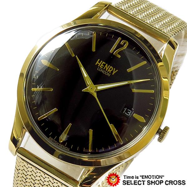 ヘンリーロンドン HENRY LONDON ウェストミンスター WESTMINSTER 39mm メンズ レディース ユニセックス 腕時計 ブランド HL39-M-0178 ブラック/イエローゴールド