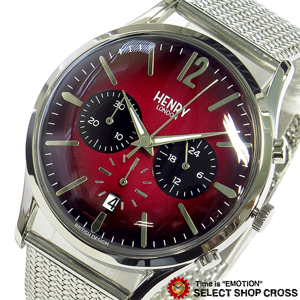 ヘンリーロンドン HENRY LONDON チャンスリー CHANCERY メンズ レディース ユニセックス 40mm クロノ 腕時計 ブランド HL41-CM-0101 レッド/シルバー