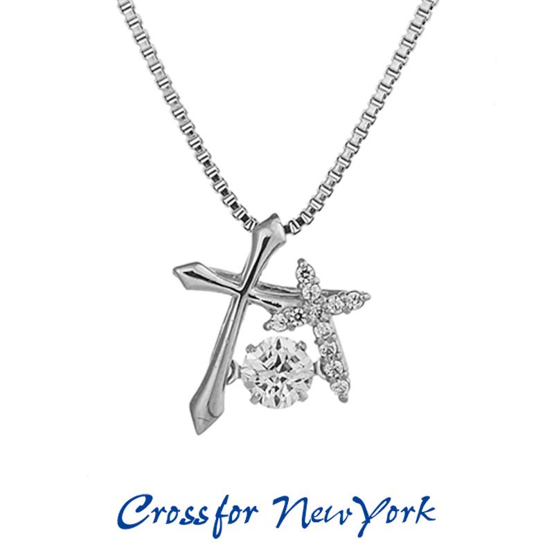 クロスフォー Crossfor ニューヨーク レディース ネックレス Double Cross NYP-595 ダンシングストーン