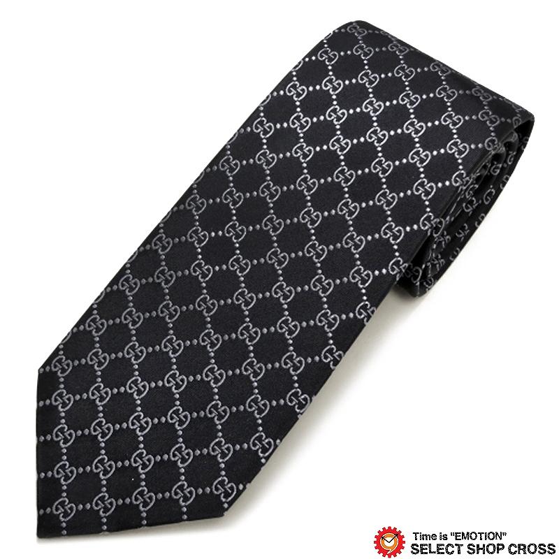 グッチ GUCCI ネクタイ 高級 ブランド シルク100% ロゴ格子柄 ブラック/グレー GUCCI-456524-4069