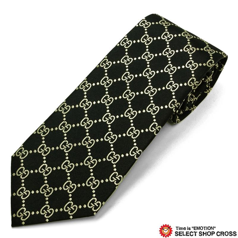 グッチ GUCCI ネクタイ 高級 ブランド シルク100% ロゴ格子柄 ブラック/ゴールド GUCCI-499695-1079
