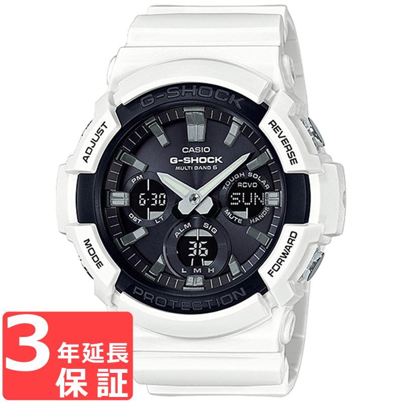 【名入れ対応】 【3年保証】 カシオ CASIO 電波 ソーラー アナログ デジタル メンズ ウレタン ブラック ホワイト 腕時計 GAW-100B-7ADR 海外モデル 【あす楽】