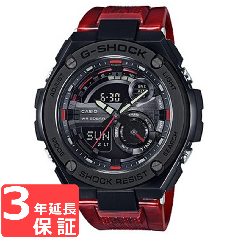 【無料ギフトバッグ付き】 【名入れ対応】 【3年保証】 カシオ CASIO Gショック G-SHOCK ジーショック Gスチール G-STEEL ブラック レッド メンズ 腕時計 GST-210M-4ADR