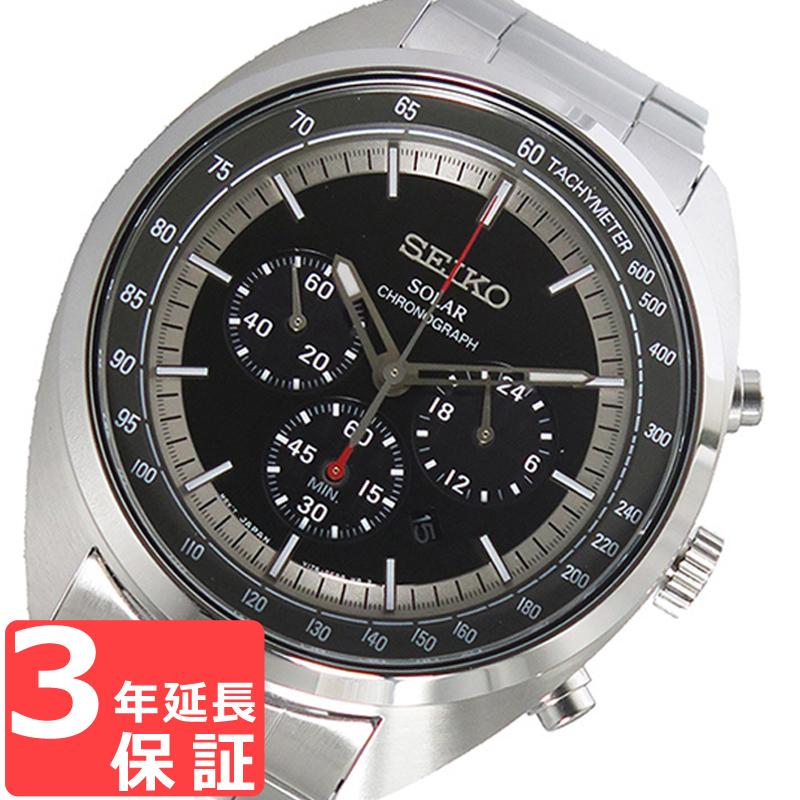 【3年保証】 セイコー SEIKO 時計 ソーラー クオーツ メンズ 腕時計 おしゃれ SSC621P1 ブラック 海外モデル セイコー SEIKO 腕時計