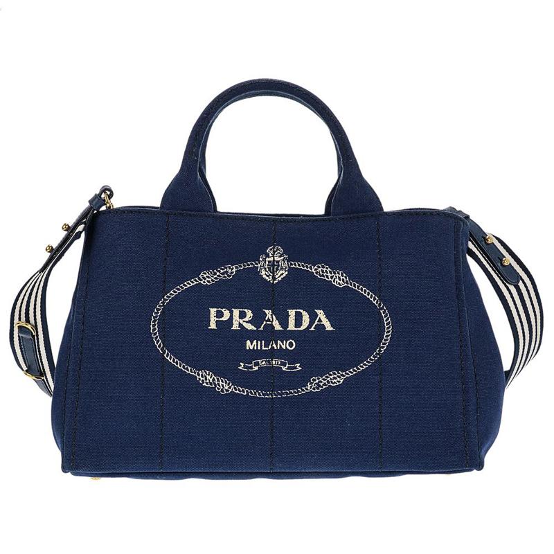 プラダ PRADA 1BG642 CANAPA ROO/BLUETTE/TALC 手提げバッグ トートバッグ ハンドバッグ レディース