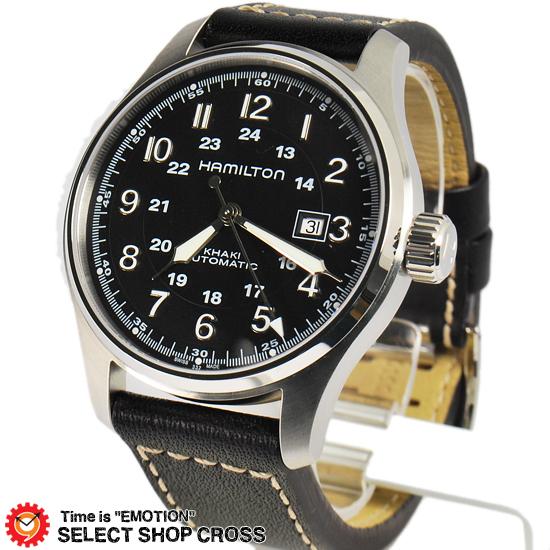 ハミルトン HAMILTON Khaki Officer ミリタリー メンズ 腕時計 アナログ 自動巻き H70625533 革 レザー ブラック 黒 【男性用腕時計 リストウォッチ ランキング ブランド 防水 革ベルト カラフル】