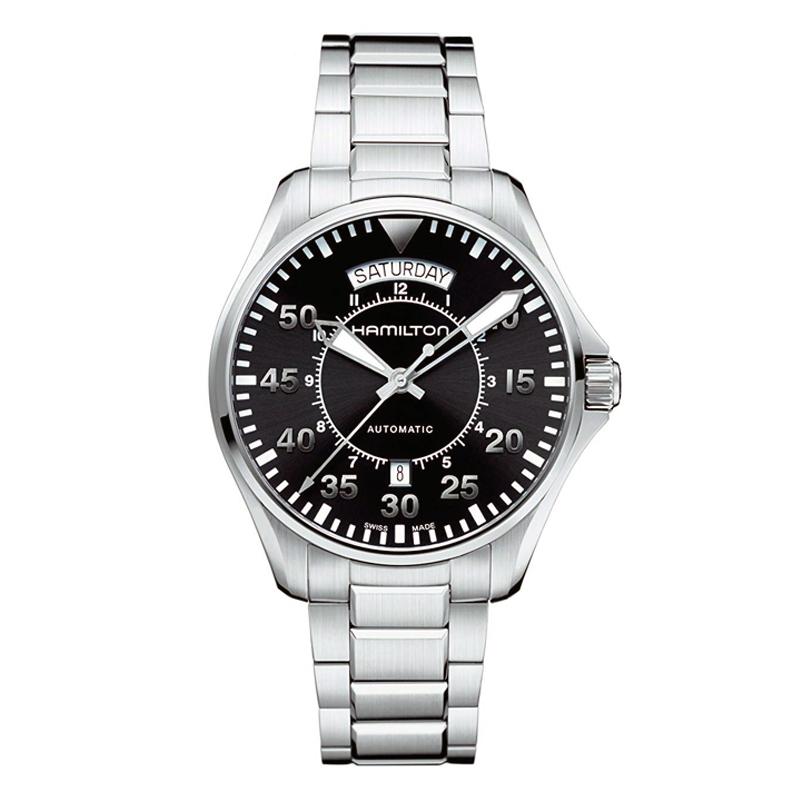 ハミルトン HAMILTON カーキ アビエーション パイロット KHAKI AVIATION PILOT AUT 自動巻き オートマ メンズ 腕時計 ブラック シルバー H64615135