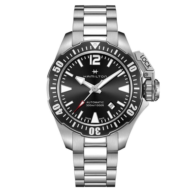 ハミルトン HAMILTON カーキ ネイビー オープンウォーター KHAKI NAVY 自動巻き オートマ ダイバーズ メンズ 腕時計 ブラック シルバー H77605135