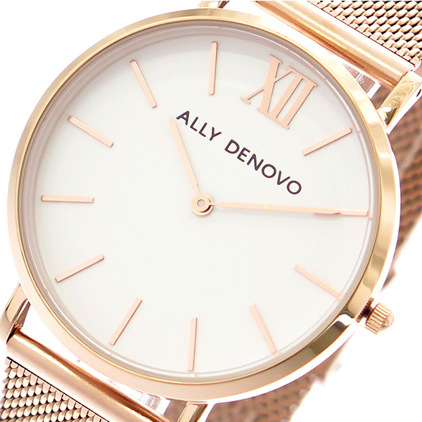 アリーデノヴォ ALLY DENOVO ニュービンテージ New Vintage 腕時計 レディース 36mm AF5014-4 MESH クオーツ ホワイト ローズゴールド