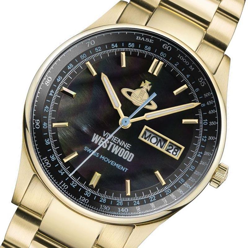 ヴィヴィアン ウエストウッド Vivienne Westwood 腕時計 メンズ VV207BKGD クオーツ ブラック ゴールド