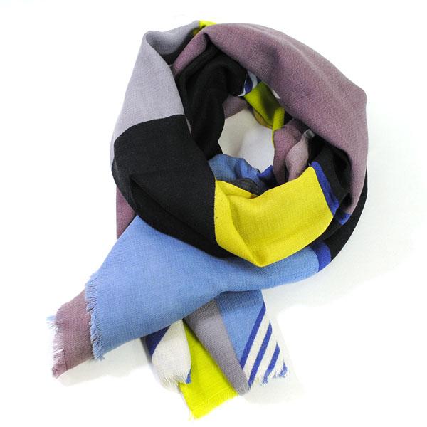 マポエジー MAPOESIE レディース ウール マフラー ストール スカーフ ブラック イエロー グレー ライトブルー ブルー H-PARADIGME NOIR