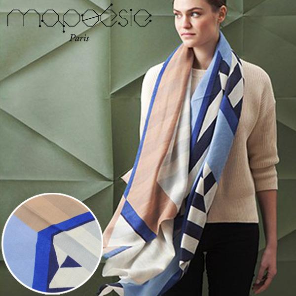 マポエジー MAPOESIE レディース ウール マフラー ストール スカーフ ライトブルー ブルー ネイビー オレンジ I-AVA BLUEGRIS