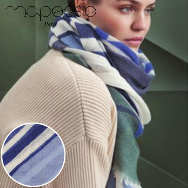 マポエジー MAPOESIE レディース ウール マフラー ストール スカーフ カーキー ライトブルー ブルー ネイビー K-EPURE BLUE