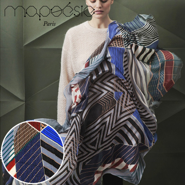 マポエジー MAPOESIE レディース ウール マフラー ストール スカーフ レッド ブルー ブラック オレンジ グリーン O-ARCHIMEDE BLUE