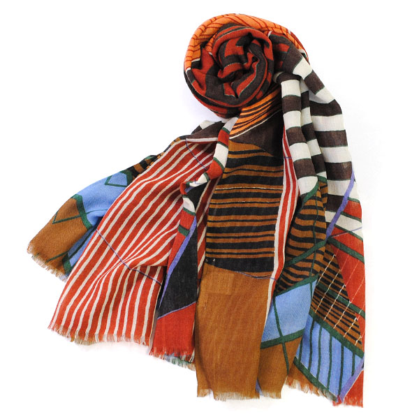 マポエジー MAPOESIE レディース ウール マフラー ストール スカーフ ブラウン レッド ブラック ダークブラウン ブルー グリーン オレンジ O-ARCHIMEDE ROUX