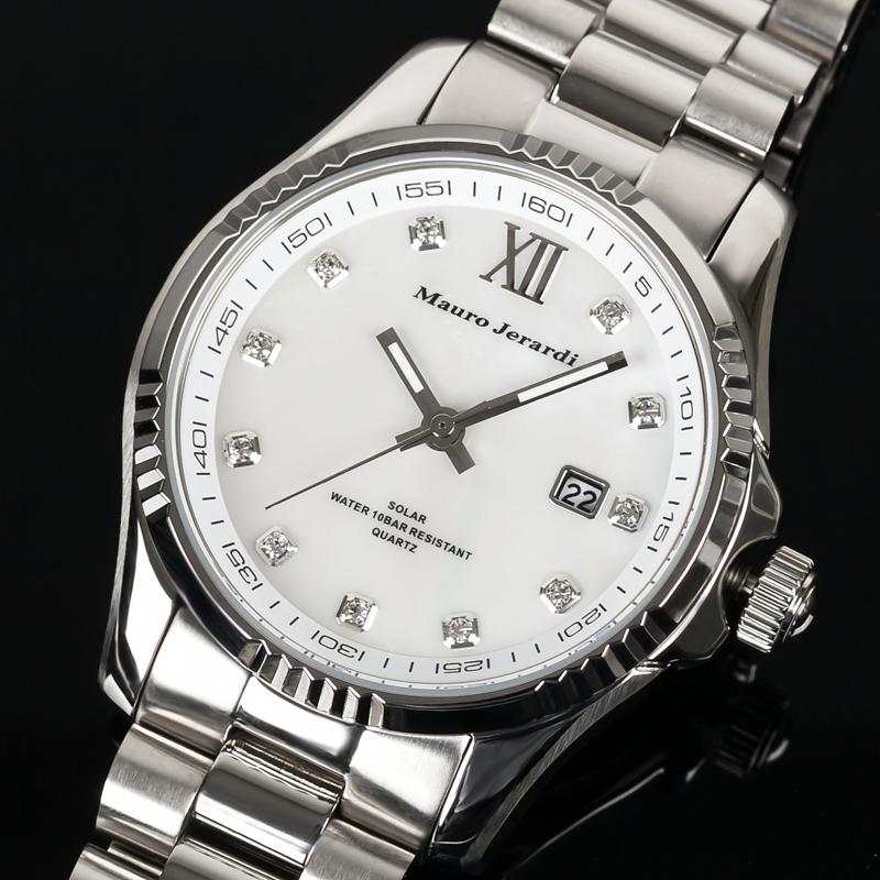マウロ ジェラルディ Mauro Jerardi ソーラー シェル文字盤 メンズ 腕時計 MJ037-3