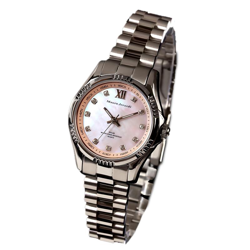 マウロ ジェラルディ Mauro Jerardi ソーラー シェル文字盤 レディース 腕時計 MJ038-3