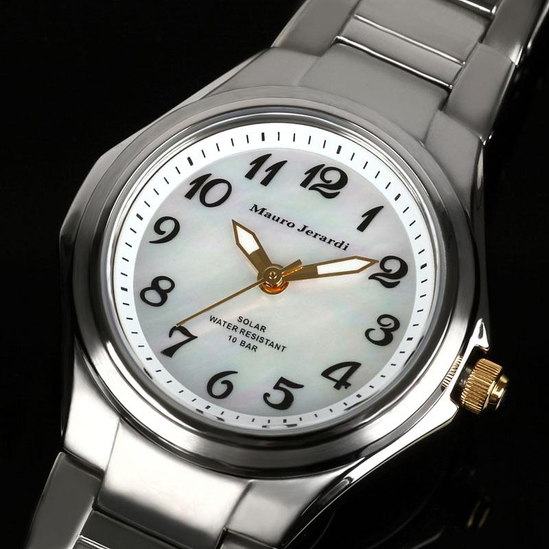 マウロ ジェラルディ Mauro Jerardi ソーラー シェル文字盤 チタン レディース 腕時計 MJ040-4