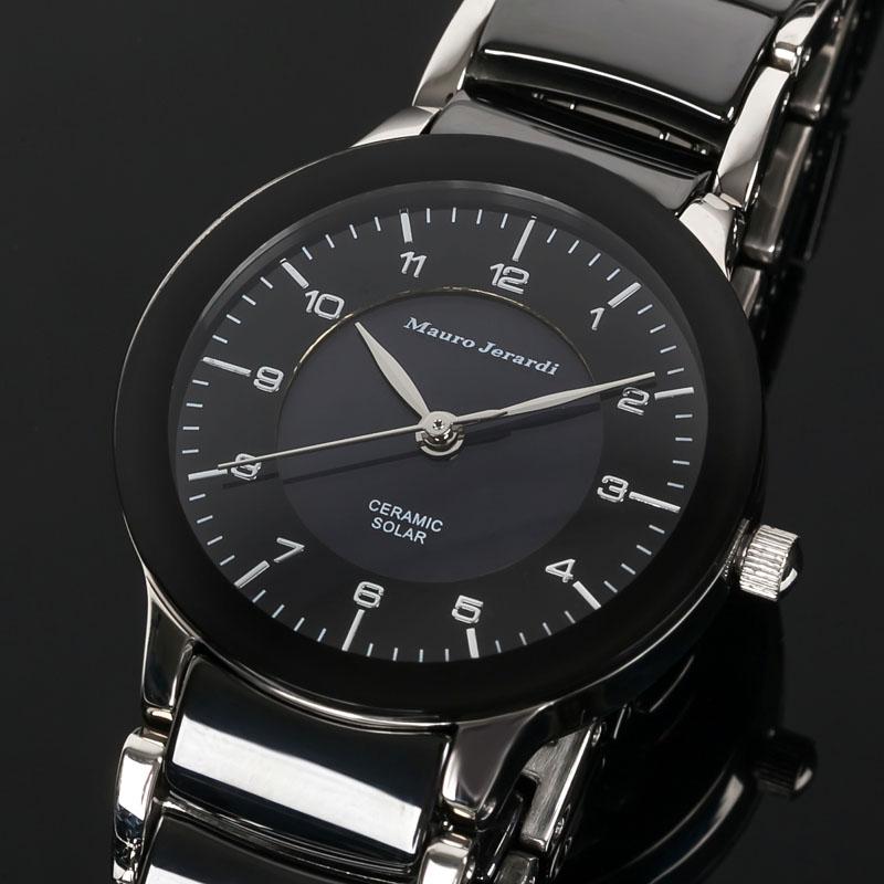マウロ ジェラルディ Mauro Jerardi ソーラー セラミック レディース 腕時計 ブラック シルバー MJ044-2