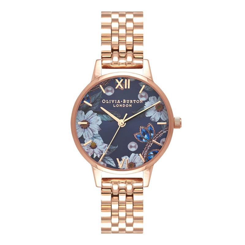 オリビアバートン 腕時計 Olivia Burton 時計 オリビアバートン 時計 Olivia Burton 腕時計 レディース Bejewelled Florals ビーズジュエリー フラワー OB16BF17 ネイビー×ローズゴールド 腕時計 レディース オリビアバートン 腕時計