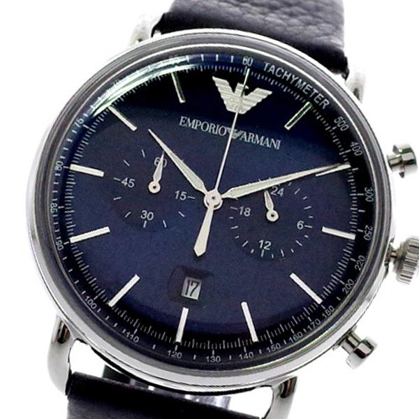 エンポリオ アルマーニ EMPORIO ARMANI クロノグラフ 腕時計 メンズ AR11105 AVIATOR クォーツ ネイビー ブラック