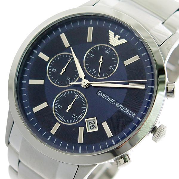 エンポリオ アルマーニ EMPORIO ARMAN クロノグラフ 腕時計 メンズ AR11164 クオーツ ネイビー シルバー