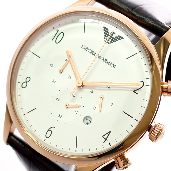 エンポリオ アルマーニ EMPORIO ARMANI クロノグラフ 腕時計 メンズ AR1916 クオーツ ホワイト ブラウン