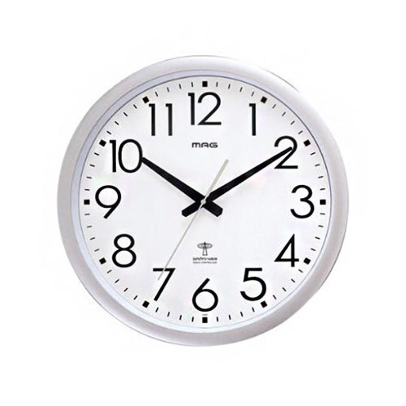 ノア精密 NOA マグ MAG 掛け時計 電波時計 大型 夜間秒針停止 ウェーブ420 W-462 SM シルバーメタリック