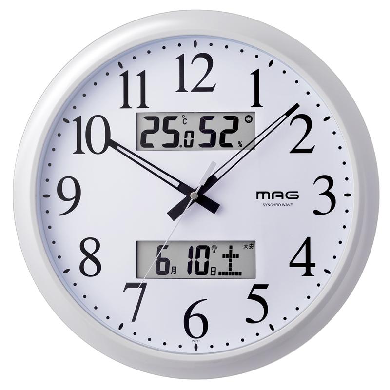 ノア精密 NOA マグ MAG 掛け時計 壁掛け時計 電波時計 ダブルリンク W-711 WH