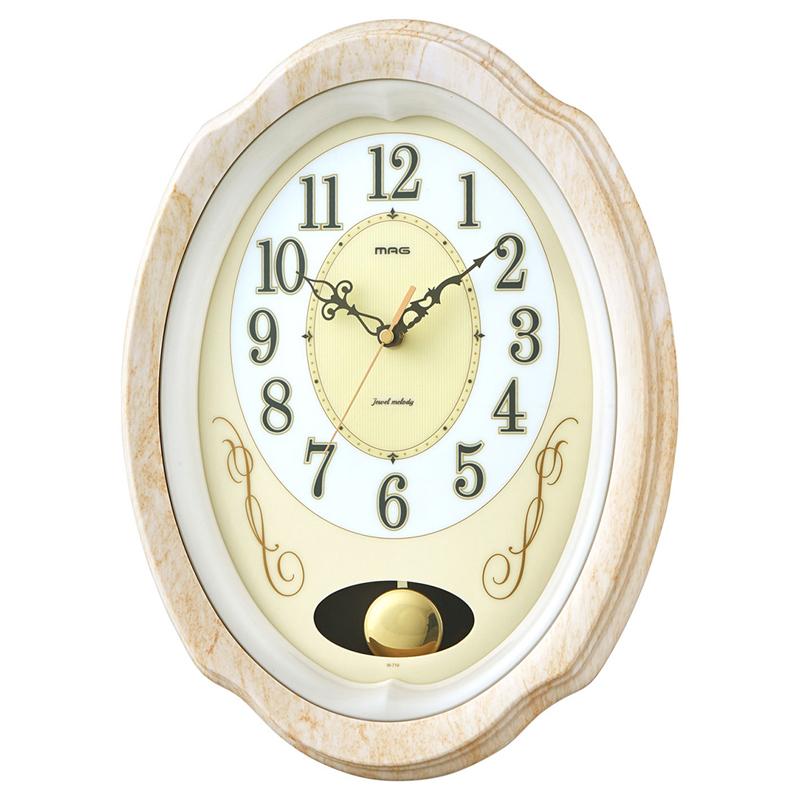 ノア精密 NOA マグ MAG 掛け時計 壁掛け時計 電波時計 振り子時計 ジュエルメロディ 石目アイボリー 夜間秒針停止・鳴り止め機能 W-719 SFIV