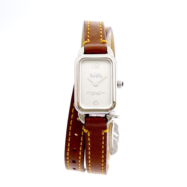コーチ COACH レディース 腕時計 Ludlow ラドロー チャーム付き ダブルストラップ シルバー ブラウンレザー 14502775