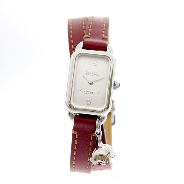 コーチ COACH レディース 腕時計 Ludlow ラドロー チャーム付き ダブルストラップ シルバー バーガンディレッドレザー 14502777