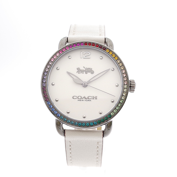 コーチ COACH レディース 腕時計 Delancey デランシー レインボークリスタル ホワイト ホワイトレザー 1450888
