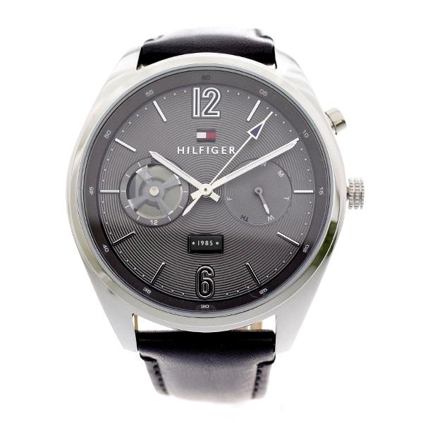 トミー ヒルフィガー TOMMY HILFIGER メンズ 腕時計 DEACAN グレー ブラックレザー 1791548