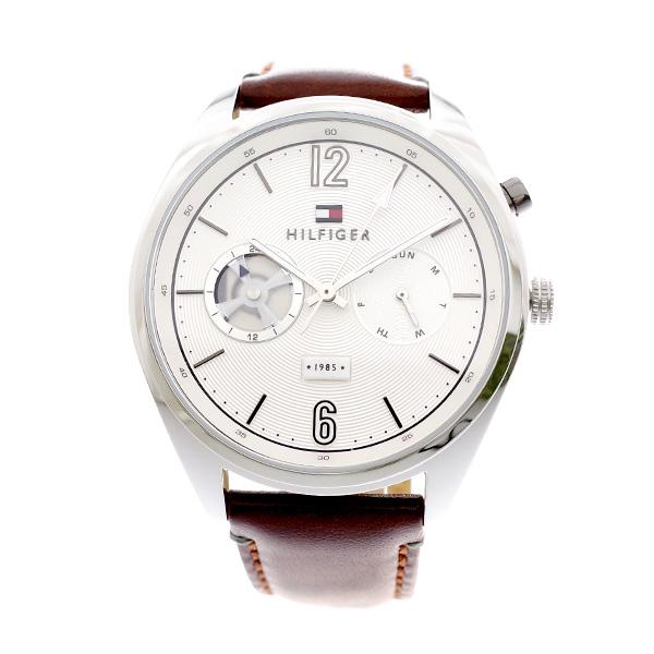 トミー ヒルフィガー TOMMY HILFIGER メンズ 腕時計 DEACAN ホワイト ブラウンレザー 1791550