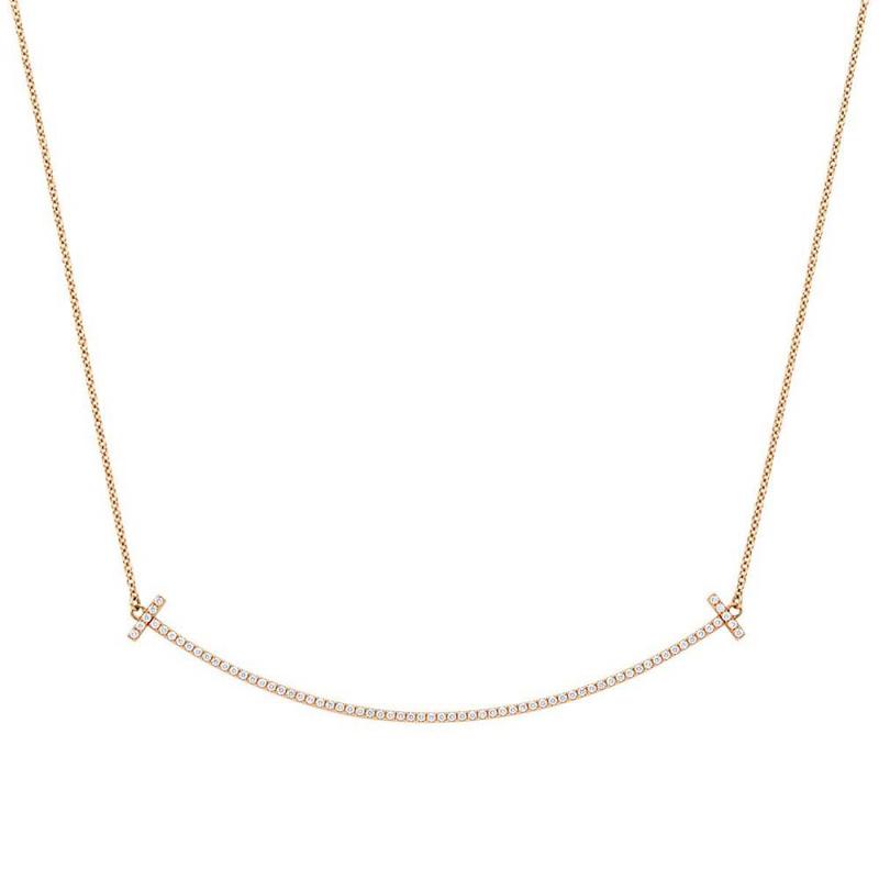ティファニー Tiffany&Co 34946086 Tiffany T スマイル ペンダント ネックレス 18KRG×ダイアモンド 41cm~46cm レディース TIFFANY & CO.