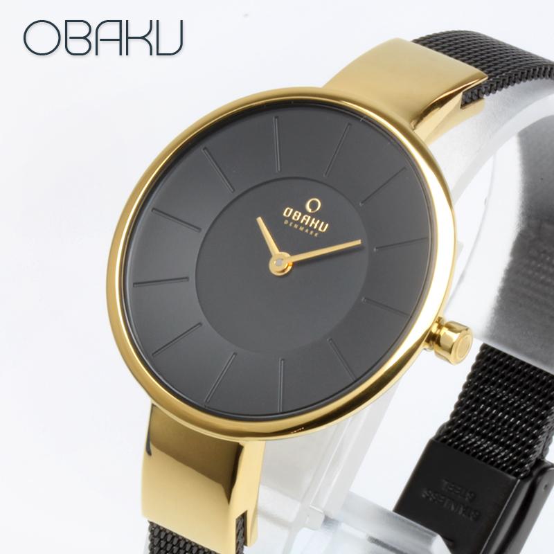 オバク OBAKU SOL 32mm MEDALLION ブラック/ゴールド/ブラックメタルメッシュベルト レディース 腕時計 ブランド V149LXGBMB 【あす楽】