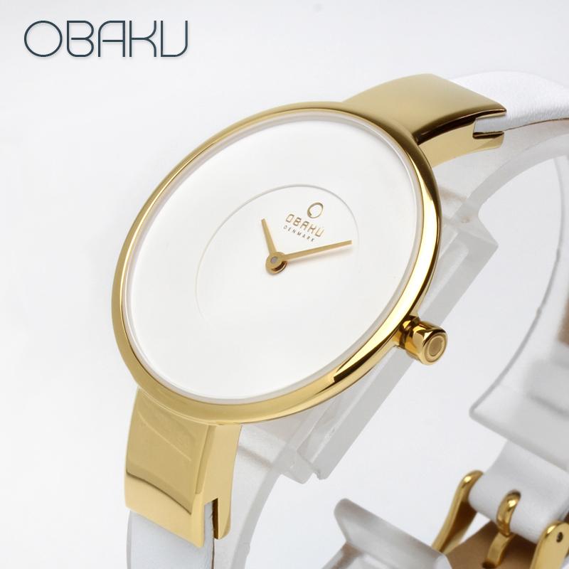 オバク OBAKU SOL 32mm COTTON ホワイト/ゴールド レディース 腕時計 ブランド V149LXGIRW 【あす楽】
