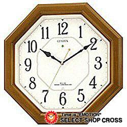 シチズン CITIZEN リズムクロック Rhythm Clock ネムリーナルック Nemurina Narukku クォーツ 掛時計 4my64506 ライトブラウン×ホワイト 白