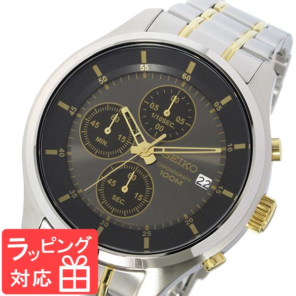 【3年保証】 セイコー SEIKO クロノ クオーツ メンズ 腕時計 SKS543P1 ブラック