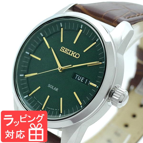 セイコー SEIKO 腕時計 メンズ SNE529P1 SEIKO SOLAR クオーツ グリーン ブラウン