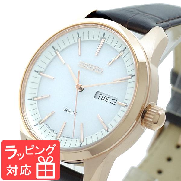 【3年保証】 セイコー SEIKO 腕時計 メンズ SNE530P1 SEIKO SOLAR クオーツ ホワイト ブラウン