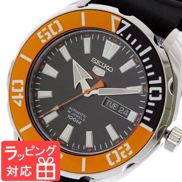【3年保証】 セイコー SEIKO 腕時計 メンズ SRPC59K1 セイコー5 SEIKO5 スポーツ SPORTS 自動巻き ブラック オレンジ