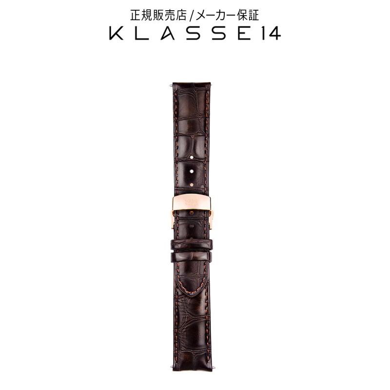 クラスフォーティーン KLASSE14 DISCO VOLANTE Rose Gold Buckle / Brown Crocodile Strap 20mm 腕時計 替えベルト ブラウン BDDIRG001M クラス14 class14