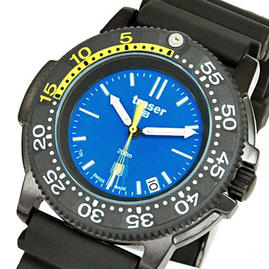 トレーサー TRASER 腕時計 NAUTIC ラバーベルト ミリタリー 腕時計 P6504.93C.6E.03 黒×青 【男性用腕時計 リストウォッチ ランキング ブランド 防水 カラフル】