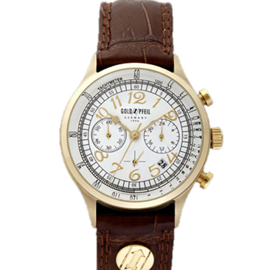 GOLD PFEIL ゴールドファイル クロノグラフシリーズ メンズ 腕時計 G11004GS ダークブラウン 【 正規品 】 【男性用腕時計 リストウォッチ ランキング ブランド 防水 カラフル】