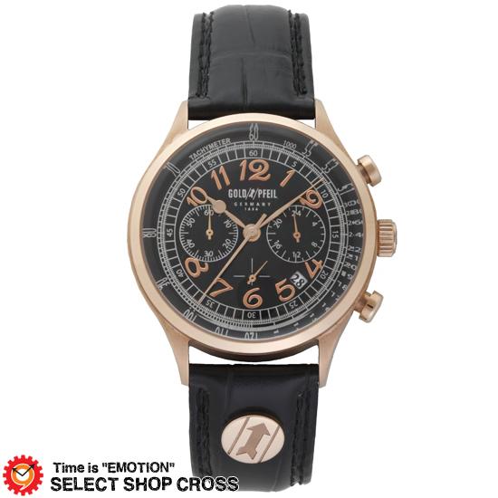 GOLD PFEIL ゴールドファイル クロノグラフシリーズ メンズ 腕時計 G11004PB ブラック 黒 【 正規品 】 【男性用腕時計 リストウォッチ ランキング ブランド 防水 カラフル】